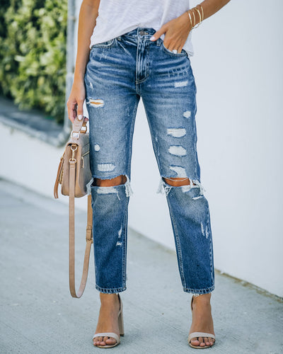 Larisa High Rise Distressed Mom Jeans