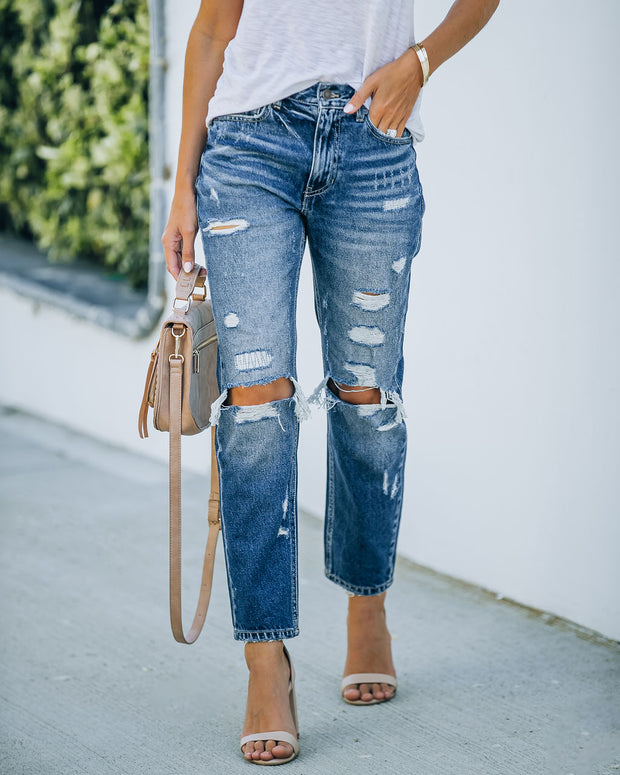 Larisa High Rise Distressed Mom Jeans view 7