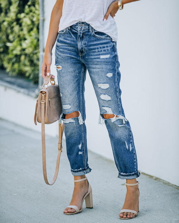 Larisa High Rise Distressed Mom Jeans view 1