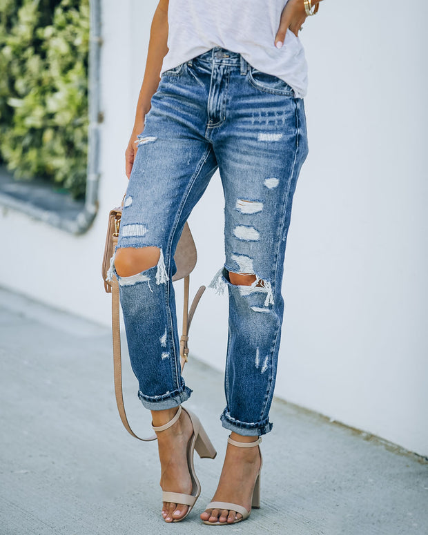 Larisa High Rise Distressed Mom Jeans view 10