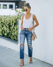 Larisa High Rise Distressed Mom Jeans view 9