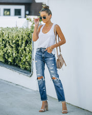 Larisa High Rise Distressed Mom Jeans view 6
