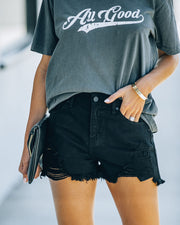 Hayes High Rise Distressed Denim Shorts view 1