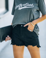Hayes High Rise Distressed Denim Shorts view 9