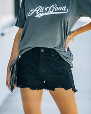 Hayes High Rise Distressed Denim Shorts view 7