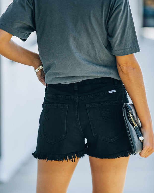 Hayes High Rise Distressed Denim Shorts view 2