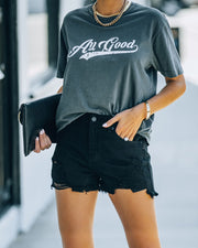 Hayes High Rise Distressed Denim Shorts view 5