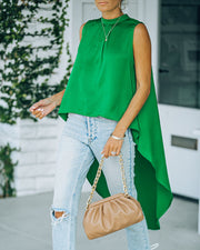 Mariah Satin Sleeveless High Low Blouse - Emerald view 6
