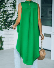 Mariah Satin Sleeveless High Low Blouse - Emerald view 2