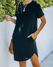Nial Pocketed Knit T-Shirt Dress - Black view 5