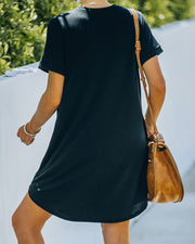 Nial Pocketed Knit T-Shirt Dress - Black view 2