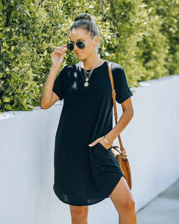 Nial Pocketed Knit T-Shirt Dress - Black view 6