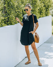 Nial Pocketed Knit T-Shirt Dress - Black view 1