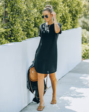 Nial Pocketed Knit T-Shirt Dress - Black view 9