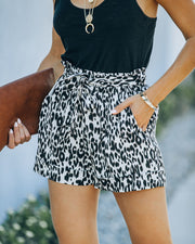 Mile A Minute High Rise Pocketed Leopard Shorts view 1