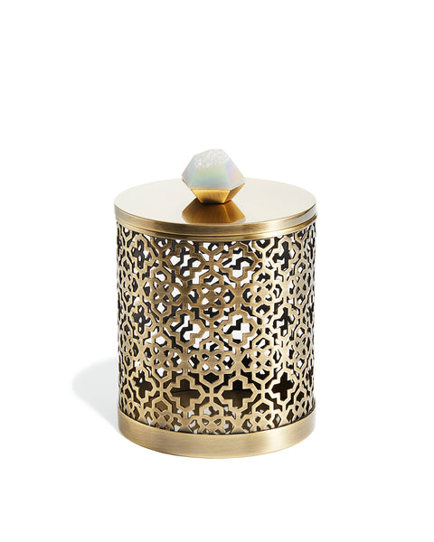 KENDRA SCOTT - Filigree Canister - Antique Brass Iridescent Drusy