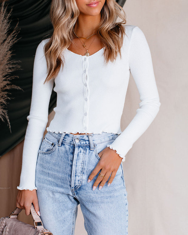 Angelina Cropped Button Down Ribbed Knit Top view 3