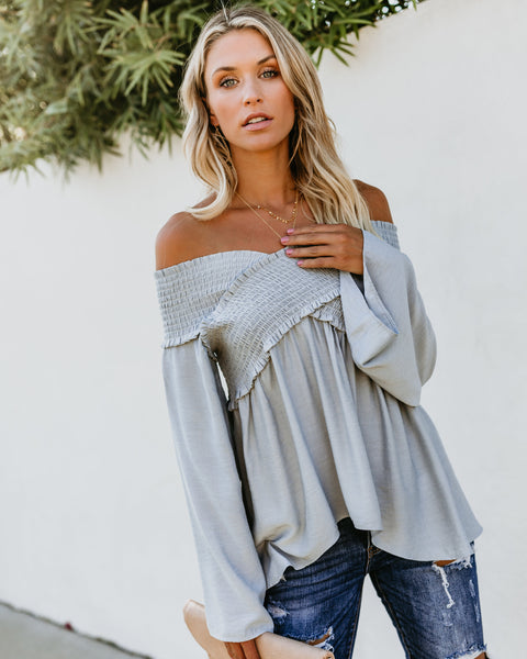 Ascension Smocked Off The Shoulder Top - Waterlily