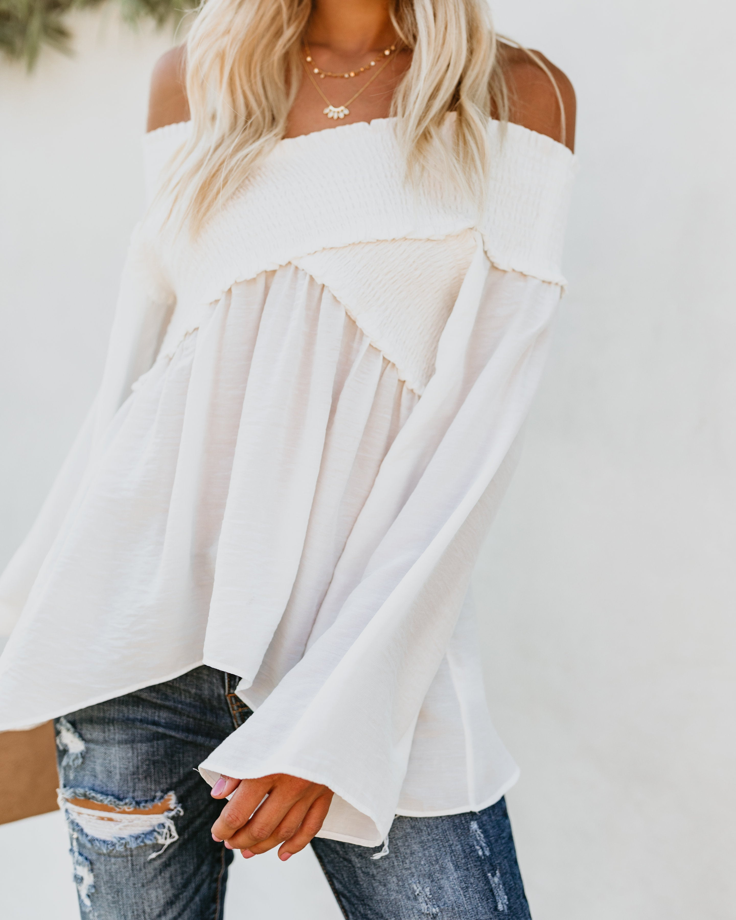 99e7201fd8cca5 Detail Product. ← Home - LARGE - Ascension Smocked Off The Shoulder Top -  White