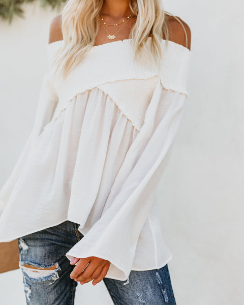 Ascension Smocked Off The Shoulder Top - White - FINAL SALE