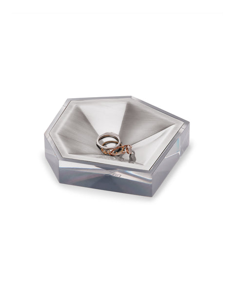 KENDRA SCOTT - Faceted Ring Dish - Antique Silver