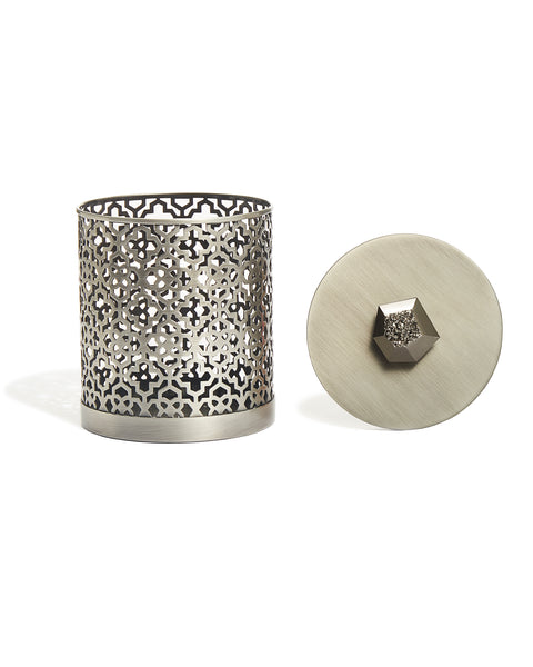 KENDRA SCOTT - Filigree Canister - Antique Silver Platinum Drusy