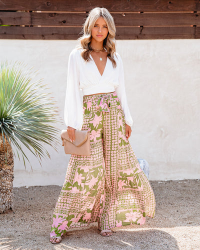 A World To See Floral Tie Front Wide Leg Pants