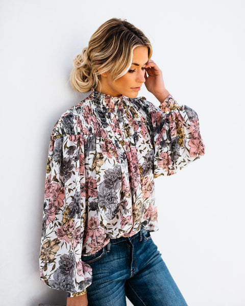 PREORDER - Aaliyah Floral Blouse - Ivory