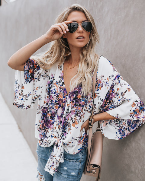 Adora Floral Tie Top - Ivory/ Violet Multi - FINAL SALE