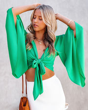 Angel Dust Bell Sleeve Tie Front Crop Top - Kelly Green view 12