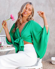Angel Dust Bell Sleeve Tie Front Crop Top - Kelly Green view 9