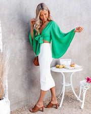 Angel Dust Bell Sleeve Tie Front Crop Top - Kelly Green view 7