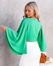 Angel Dust Bell Sleeve Tie Front Crop Top - Kelly Green view 2