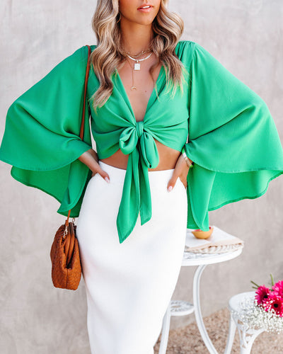 Angel Dust Bell Sleeve Tie Front Crop Top - Kelly Green