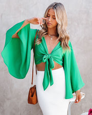 Angel Dust Bell Sleeve Tie Front Crop Top - Kelly Green view 6
