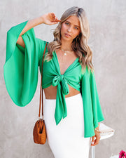 Angel Dust Bell Sleeve Tie Front Crop Top - Kelly Green view 10