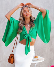 Angel Dust Bell Sleeve Tie Front Crop Top - Kelly Green view 1