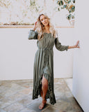 Awake My Soul Off The Shoulder High Low Dress - Olive