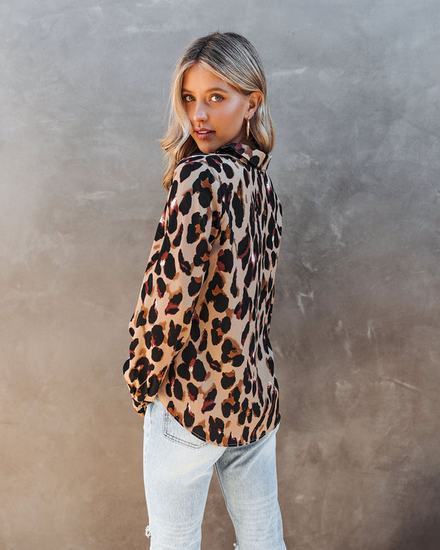 Ball Of Joy Button Down Leopard Blouse