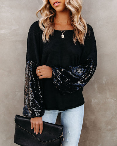 Best Gift Of All Sequin Sleeve Knit Top - Black