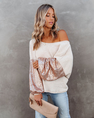 Best Gift Of All Sequin Sleeve Knit Top - Rose Gold