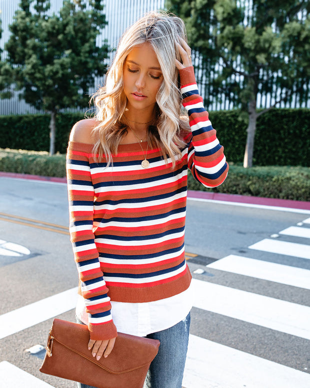 Bev Contrast Poplin Off The Shoulder Striped Knit Top