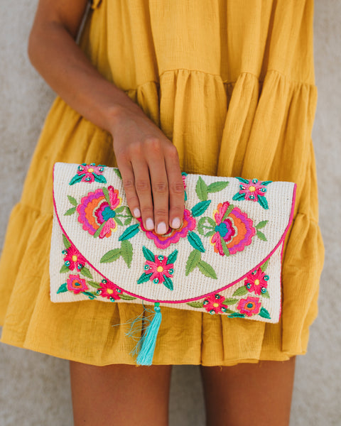 Boca Raton Embroidered Beaded Clutch