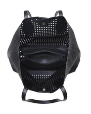 Brazil Perforated Faux Leather Tote Bag - Black view 4