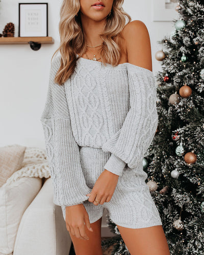 Baby, It's Cold Off The Shoulder Cable Knit Sweater