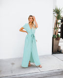 Short Sleeve Solid Bardot Wrap Maxi Dress - Sage