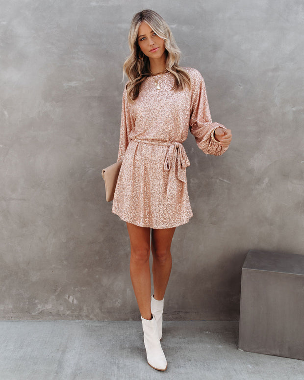 Be A Doll Sequin Tie Dress - Rose Gold - FINAL SALE view 7
