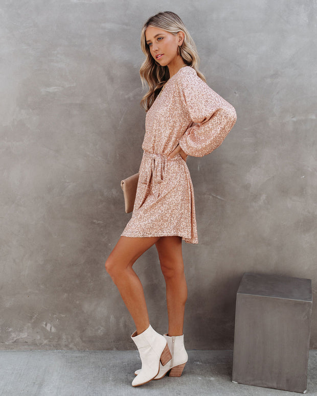 Be A Doll Sequin Tie Dress - Rose Gold - FINAL SALE view 8