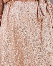 Be A Doll Sequin Tie Dress - Rose Gold - FINAL SALE view 6