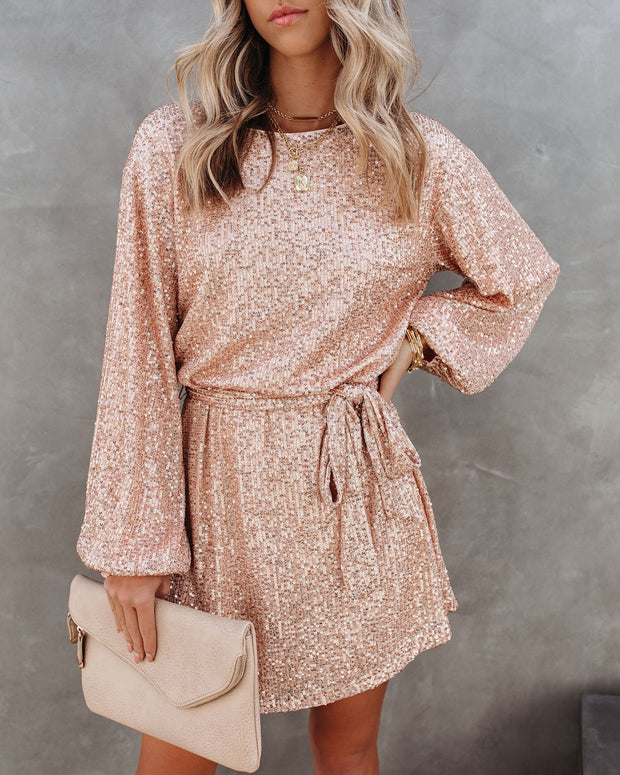 Be A Doll Sequin Tie Dress - Rose Gold - FINAL SALE view 2